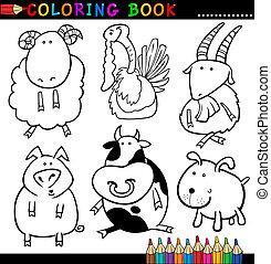 bok, kolorit, djuren, eller, sida