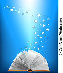 bok, magi, öppnat