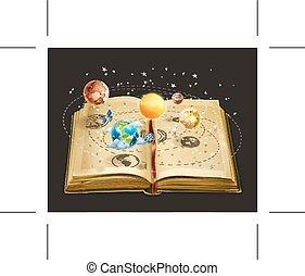 bok, på, astronomi, ikon