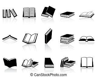 bok, sätta, ikonen