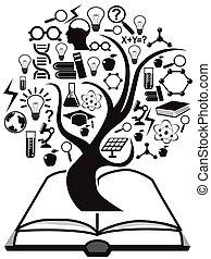 bok, träd, uppe, utbildning, ikonen