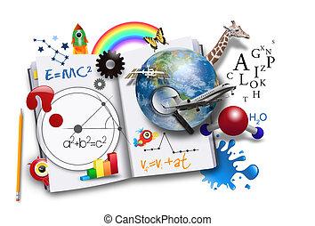 bok, vetenskap, öppna, matematik, inlärning