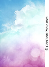 A sky scene with clouds, fog, and abstract bokeh effects. Image also features a colorful purple to green gradient.
