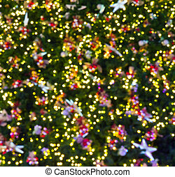 bokeh, árvore, natal, fundo, noturna