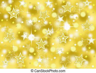 bokeh, étoile, or, fond