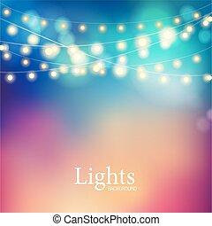 bokeh, γιρλάντα , lights.