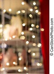 bokeh, の, クリスマス ライト, 花輪, 上に, ∥, 赤いカーテン