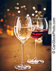 bokeh, パーティー, 白, ガラス, 赤ワイン