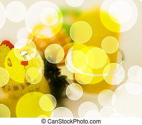 bokeh, 復活節, 黃色, 背景