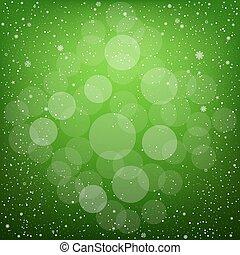bokeh, 緑, クリスマス, 雪