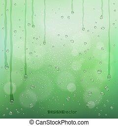 bokeh, 緑, 雨, ぼんやりとしたバックグラウンド