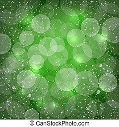 bokeh, 緑, 雪, 背景