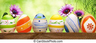 bokeh, 蛋, 復活節, 花, 背景