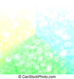 bokeh, 震動, 綠色, 以及, 黃色的背景, 由于, 模糊, 光