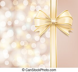 bokeh abstract background and bow ribbon holiday greeting template