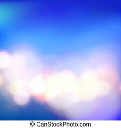 Bokeh and lens flare on blue background. Vector illustration.