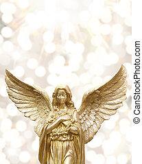 bokeh, angolo, baluginante, fondo., dorato, statua, luminoso, contro