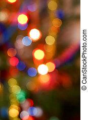 bokeh, auf, farbenfreudiges licht, leuchtsignale, von, a, weihnachtsbaum, fokus