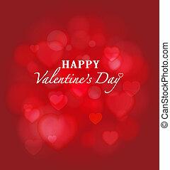 bokeh, błyszczący, czerwone tło, valentine