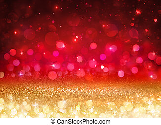 Bokeh Background - Glittering Effect With Golden And Red Lights