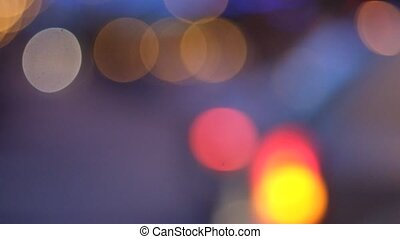Bokeh background of blurred street lights moving FHD