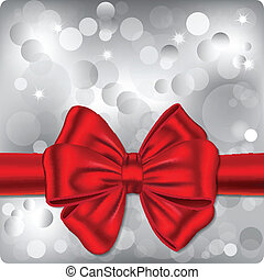 Bokeh background with red ribbon