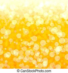 bokeh, beschwingt, gelber hintergrund, mit, blurry, lichter