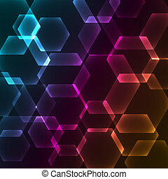 Bokeh blur with hexagons background, vector illustration