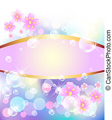 Bokeh, bubbles and flowes - Glowing background with bokeh,...