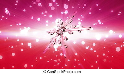 bokeh Christmas Snowflake blue to red - Ice crystal...