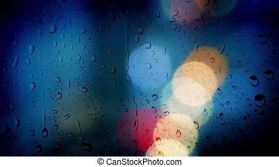 Bokeh City Lights Rainy Window
