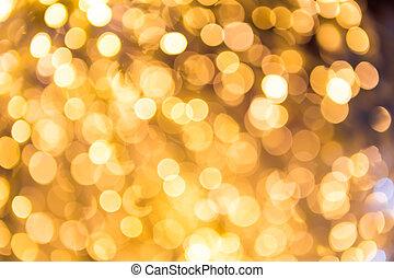 bokeh, defocused, guld, abstrakt, jul, bakgrund