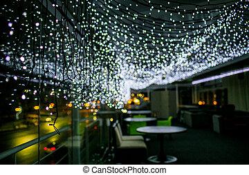 bokeh, elvont, lights., karácsony, garland., háttér