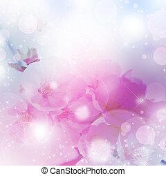 bokeh, flores, fresco, cereja, primavera, fundo, macio, cor-...
