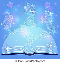 bokeh, fondo azul, con, libro de cuento de hadas