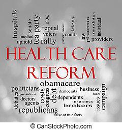 bokeh, gezondheidszorg, reform, woord, wolk