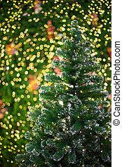 bokeh light on christmas tree, blurred background