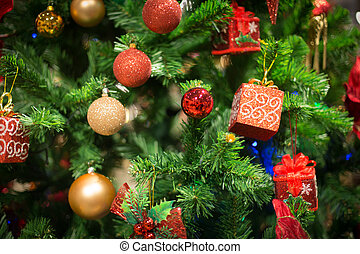 bokeh light on christmas tree, blurred background.