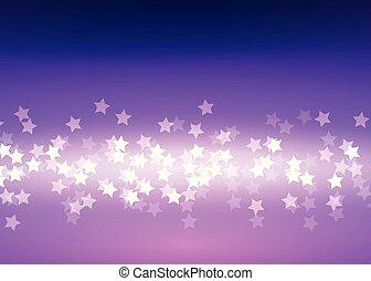 Bokeh light stars on lilac background