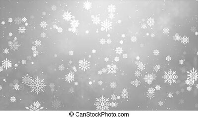 Bokeh light White Loop background. Holiday glowing backdrop...