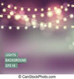 bokeh, lights., ghirlanda