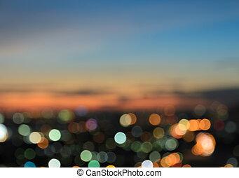 bokeh, lumières, brouillé, ville