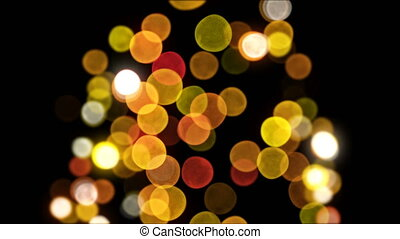 Bokeh New Year Tree Lights Blinking Seamless on Black Background. Loop-able 3d Animation. Merry Christmas and Happy New Year Concept. 4k Ultra HD 3840x2160