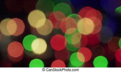 Bokeh new year tree lights twinkling