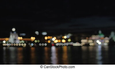 Bokeh. Night city. Blurred photo