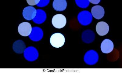 Bokeh of christmas tree decoration. Shift motion. HD. 1920x1080