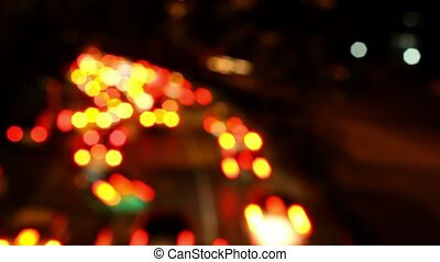 Bokeh of Evening traffic jam on road in city. HD. 1920x1080. Timelapse speed up