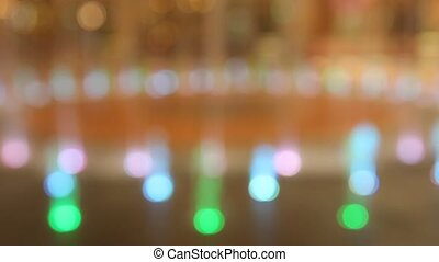Bokeh of fountain lights with color