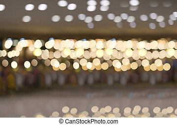 Bokeh of the ceiling light in the mall.