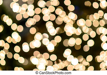 Bokeh on gold yellow defocused light